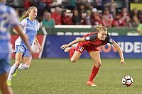 Portland, OR - Saturday August 19, 2017: Emily Sonnett, Janine Beckie during a regular season National Women's Soccer League (NWSL) match between the Portland Thorns FC and the Houston Dash at Providence Park.