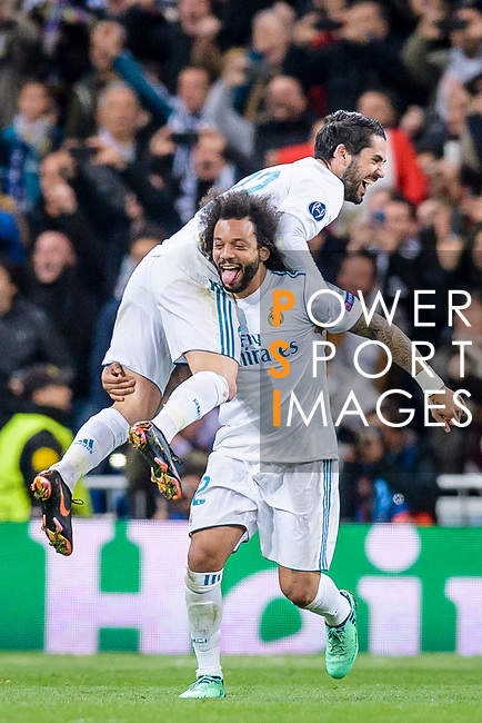 Marcelo Vieira Da Silva of Real Madrid (bottom) and Isco Alarcon of Real Madrid (top) celebrates during the UEFA Champions League 2017-18 quarter-finals (2nd leg) match between Real Madrid and Juventus at Estadio Santiago Bernabeu on 11 April 2018 in Madrid, Spain. Photo by Diego Souto / Power Sport Images