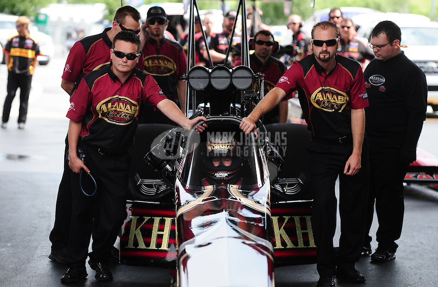 Jun. 19, 2011; Bristol, TN, USA: NHRA top fuel dragster driver Del Worsham during eliminations at the Thunder Valley Nationals at Bristol Dragway. Mandatory Credit: Mark J. Rebilas-
