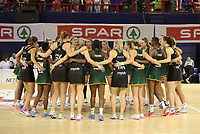 JOHANNESBURG, SOUTH AFRICA - JANUARY 25: The teams huddle after during the Netball Quad Series netball match between Spar Proteas and Silver Ferns at the Ellis Park Arena in Johannesburg. Mandatory Photo Credit: ©Reg Caldecott/Michael Bradley Photography