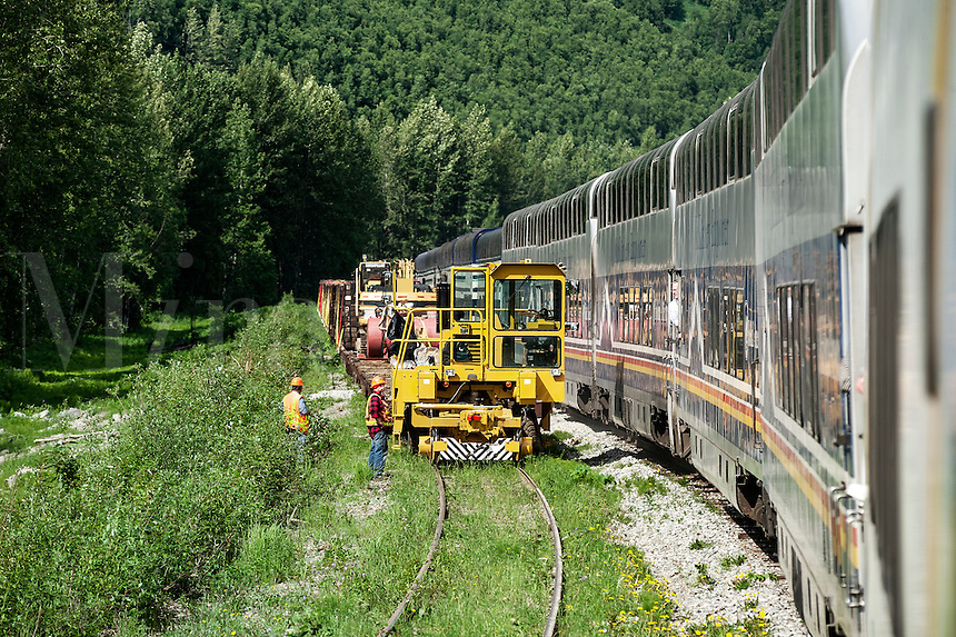 Track repair crew watches as a tourist train passes through the Alaskan wilderness, Alaska, USA.