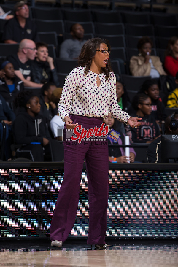 LSU Tigers head coach Nikki Fargas reacts to a call during first half action against the Wake Forest Demon Deacons at the LJVM Coliseum on November 13, 2015 in Winston-Salem, North Carolina.  The Demon Deacons defeated the Tigers 60-57.  (Brian Westerholt/Sports On Film)