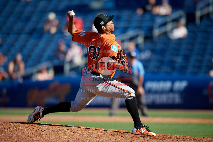 Baltimore Orioles relief pitcher Luis Ysla (97) delivers a pitch during a Grapefruit League Spring Training game against the Philadelphia Phillies on February 28, 2019 at Spectrum Field in Clearwater, Florida.  Orioles tied the Phillies 5-5.  (Mike Janes/Four Seam Images)