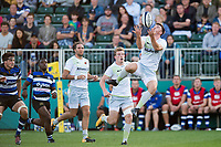 Matt Gallagher of Saracens Storm looks to claim the ball in the air. Aviva A-League match, between Bath United and Saracens Storm on September 1, 2017 at the Recreation Ground in Bath, England. Photo by: Patrick Khachfe / Onside Images