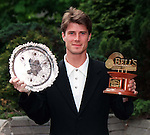Brian Laudrup with his Scottish Sportswriters Player of the Year award and the Bells Player of the Year Award at a ceremony at the Hilton Hotel in Glasgow