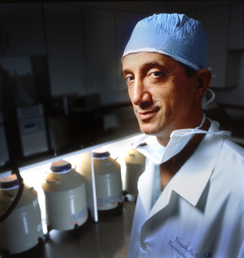 Southern California's Ricardo Asch M.D. a Reproduction Specialist with urns of frozen human eggs and sperm. copyright Jim Mendenhall, Los Angeles Times.