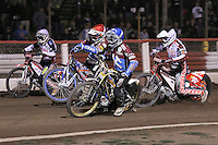 Heat 10: Davey Watt (red), Kim Nilsson (blue), Krzysztof Buczkowski (white) and Linus Sundstrom - Lakeside Hammers vs Peterborough Panthers - Sky Sports Elite League Speedway at Arena Essex Raceway, Purfleet - 14/09/12 - MANDATORY CREDIT: Gavin Ellis/TGSPHOTO - Self billing applies where appropriate - 0845 094 6026 - contact@tgsphoto.co.uk - NO UNPAID USE.