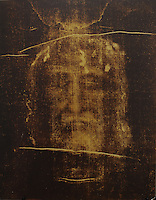 NWA Democrat-Gazette/ANDY SHUPE<br /> An image of Jesus is seen as a negative in a photograph of the Should of Turin during a presentation by Donald Nohs, director general of the Confraternity of the Passion International, Saturday, Jan. 16, 2016, at St. Joseph Catholic Church in Tontitown.