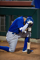 AZL Cubs center fielder Jose Gutierrez (91) takes time to himself before a game against the AZL Giants on September 5, 2017 at Scottsdale Stadium in Scottsdale, Arizona. AZL Cubs defeated the AZL Giants 10-4 to take a 1-0 lead in the Arizona League Championship Series. (Zachary Lucy/Four Seam Images)