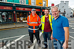 Kerry County Council workers Donal O'Sullivan and his first cousin Casey Connie Cremins with Finbarr Quill, Quill's store Kenmare.