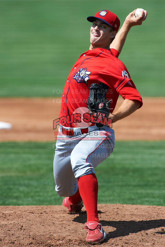 Williamsport Crosscutters pitcher Jeb Stefan #27 during a NY-Penn League game against the Batavia Muckdogs at Dwyer Stadium on August 26, 2012 in Batavia, New York.  Batavia defeated Williamsport 7-1.  (Mike Janes/Four Seam Images)