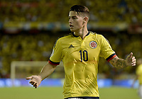 BARRANQUILLA - COLOMBIA - 05-10-2017:  James Rodriguez jugador de Colombia en acción durante partido entre Colombia y Paraguay por la fecha 17 de la clasificatoria a la Copa Mundial de la FIFA Rusia 2018 jugado en el estadio Metropolitano Roberto Melendez en Barranquilla. / James Rodriguez player of Colombia in action during the match between Colombia and Paraguay for the date 17 of the qualifier to FIFA World Cup Russia 2018 played at Metropolitan stadium Roberto Melendez in Barranquilla. Photo: VizzorImage/ Gabriel Aponte / Staff