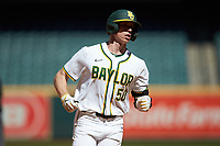 Mack Mueller (50) of the Baylor Bears rounds the bases after hitting a home run against the Missouri Tigers in game one of the 2020 Shriners Hospitals for Children College Classic at Minute Maid Park on February 28, 2020 in Houston, Texas. The Bears defeated the Tigers 4-2. (Brian Westerholt/Four Seam Images)