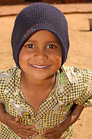 Portrait of smiling face of young boy outside of New Delhi, India