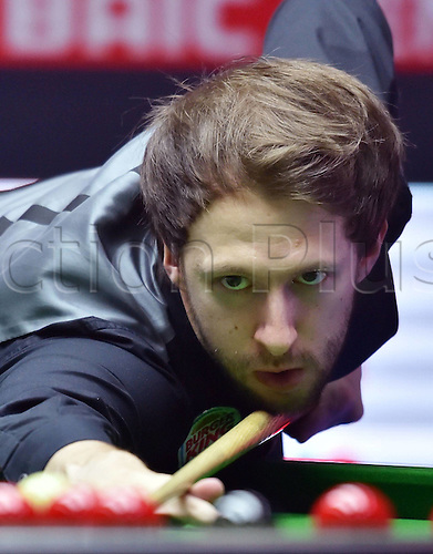 03.04.2016. Beijing, China.  Judd Trump of England prepares for a shot during the final of the 2016 World Snooker China Open Tournament against his compatriot Ricky Walden in Beijing,  China, April 3, 2016. Judd Trump won 10-4.