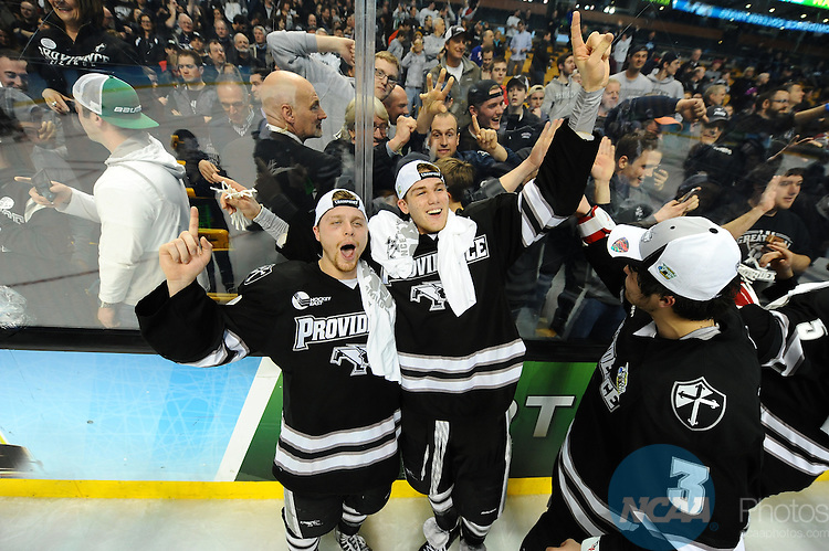 11 APR 2015: Providence College celebrates winning the NCAA Hockey Championship against Boston University during the Division I Men's Ice Hockey Championship held at the TD Garden in Boston, MA. Providence defeated Boston 4-3 for the national title. Brian Babineau/NCAA Photos
