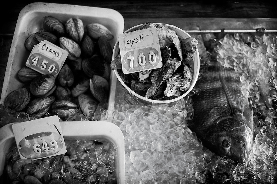 Some fresh seafood for sale in Backman's Seafood in the community of Sol Legare on James Island Island near Charleston SC.