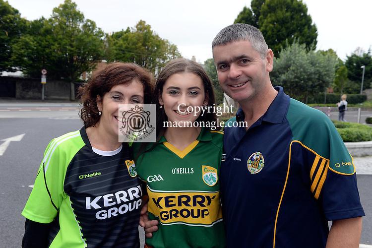 Sinead, Katie and John Pat Long from Killorglin.<br /> <br /> Kerry win the 2016 All-Ireland Minor Football Championship.<br /> Photo Don MacMonagle