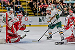 29 December 2018: Rensselaer Engineer Goaltender Owen Savory, a Freshman from Cambridge, ON, makes a second period save against the University of Vermont Catamounts as Catamount Joey Cipollone looks for the rebound at Gutterson Fieldhouse in Burlington, Vermont. The Catamounts rallied from a 2-0 deficit to defeat RPI 4-2 and win the annual Catamount Cup Tournament. Mandatory Credit: Ed Wolfstein Photo *** RAW (NEF) Image File Available ***