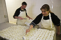 Europe/France/73/Savoie/Val d'Isère: Préparation des faisselles de fromage blanc bio à la Ferme de l'Adroit Auto N°:8013