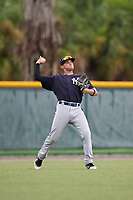 GCL Yankees East left fielder Raymundo Moreno (26) throws from the outfield during the second game of a doubleheader against the GCL Pirates on July 31, 2018 at Pirate City Complex in Bradenton, Florida.  GCL Pirates defeated GCL Yankees East 12-4.  (Mike Janes/Four Seam Images)