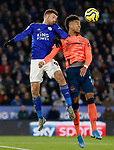 Jamie Vardy of Leicester City of and Mason Holgate of Everton jump for the ball during the Premier League match at the King Power Stadium, Leicester. Picture date: 1st December 2019. Picture credit should read: Darren Staples/Sportimage