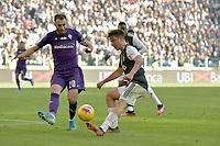 2nd February 2020; Allianz Stadium, Turin, Italy; Serie A Football, Juventus versus Fiorentina; German Pezzella of Fiorentina opposes Paulo Dybala of Juventus as he shoots at goal