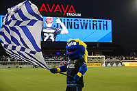 San Jose, CA - Saturday September 16, 2017: Q Mascot prior to a Major League Soccer (MLS) match between the San Jose Earthquakes and the Houston Dynamo at Avaya Stadium.