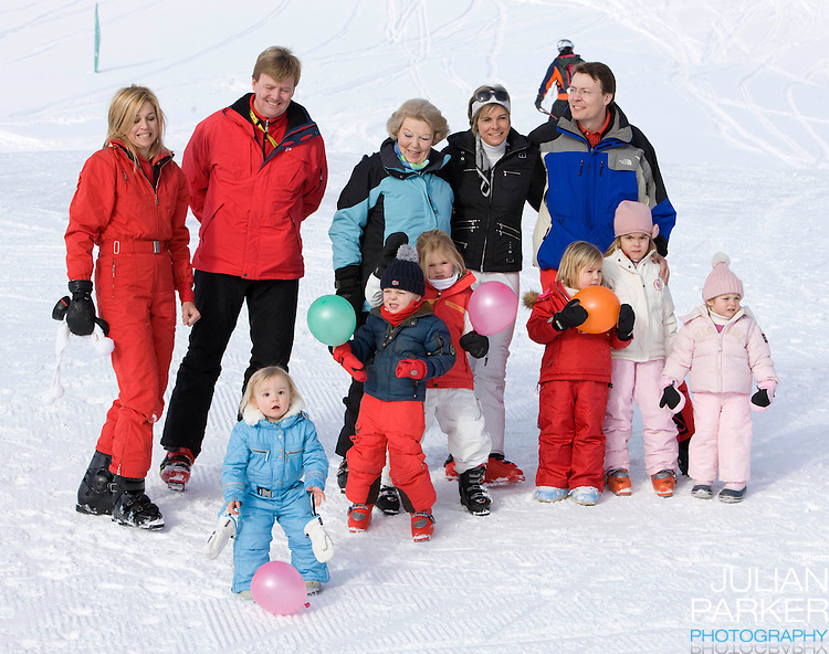 Crown Prince Willem Alexander, and Crown Princess Maxima of Holland with Daughters, Princess Alexia, Princess Catharina Amalia and Princess Ariane, Queen Beatrix, Prince Constantijn, Princess Laurentien, with their children, Countess Eloise, Count Claus Casimir, and Countess Leonore attend a Photocall with Members of The Dutch Royal Family during their Winter Ski Holiday in Lech Austria