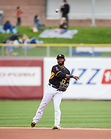 Rey Navarro (13) of the Salt Lake Bees during the game against the El Paso Chihuahuas in Pacific Coast League action at Smith's Ballpark on April 30, 2017 in Salt Lake City, Utah. El Paso defeated Salt Lake 12-3. This was Game 2 of a double-header originally scheduled on April 28, 2017. (Stephen Smith/Four Seam Images)