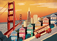 Illustration of cable car on steep slope in San Francisco