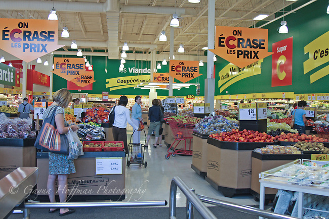 People shopping in grocery store. Montreal, Canada