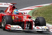 BARCELONA, ESPANHA, 12 DE MAIO DE 2012 - GP DA CATALUNHA -  O piloto da Ferrari Fernando Alonso durante o treino classificatorio do GP da Catalunha, neste sabado. (FOTO: PIXA / BRAZIL PHOTO PRESS).
