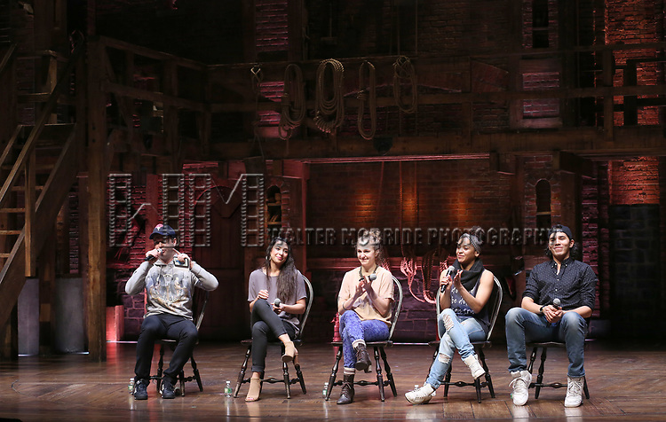 """Taran Killam, Lauren Boyd, Hope Endrenyi, Sasha Hollinger and Anthony Lee Medina during The Rockefeller Foundation and The Gilder Lehrman Institute of American History sponsored High School student #EduHam Q & A  before matinee performance of  """"Hamilton"""" at the Richard Rodgers Theatre on 3/29/2017 in New York City."""
