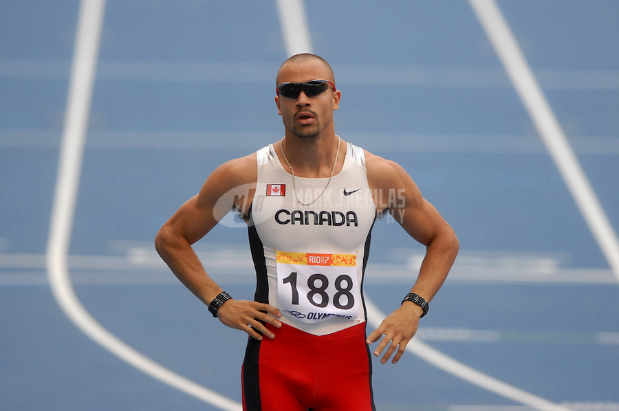 Jul 23, 2007; Rio de Janeiro, Brazil; Tyler Christopher (CAN) during the mens 400m qualifier at the Pan American Games at Joao Havelange Stadium in Rio de Janeiro. Mandatory Credit: Mark J. Rebilas-US PRESSWIRE Copyright © 2007 Mark J. Rebilas