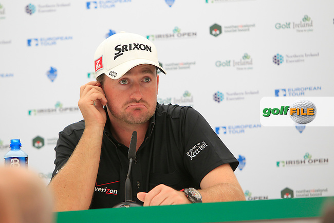 Graeme McDowell (NIR) speaking to the media ahead of the Irish Open at Royal Portrush GC,Portrush,County Antrim,Ireland. 27/6/12.Picture Fran Caffrey www.newsfile.ie