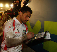 Photo: Richard Lane/Richard Lane Photography. England Legends v Ireland Legends. The Stuart Mangan Memorial Cup. 26/02/2010. England's Jason Robinson signs autographs as he leaves the field.