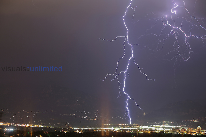 Lightning in Colorado Springs, Colorado, USA during a summer thunderstorm