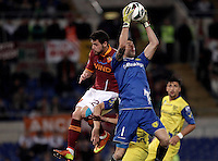 Calcio, Serie A: Roma vs Chievo Verona, Stadio Olimpico, , 7 maggio  2013..ChievoVerona goalkeeper Christian Puggioni grabs the ball past AS Roma forward Mattia Destro during the Italian serie A football match between Roma and ChievoVerona at Rome's Olympic stadium, 7 maggio  2013..UPDATE IMAGES PRESS/Isabella Bonotto