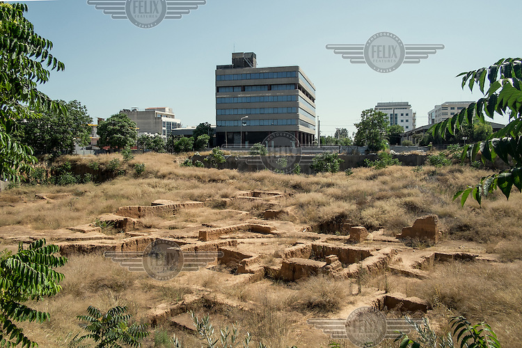 An office block looms over some ancient ruins unearthed in a patch of overgrown wasteland.