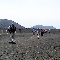 Turisti sull'Etna..The tourists visiting the Etna craters.