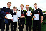 Eoin Lenihan, Sam O'Connell, Jake Farrell, Sean Leahy  sean Carroll<br /> who collected there Junior cert results<br /> Picture Fran Caffrey www.newsfile.ie