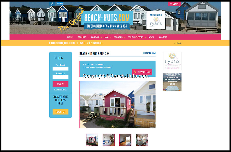 BNPS.co.uk (01202 558833)<br /> Pic:  Beach-Huts.com/BNPS<br /> <br /> Hut No. 254.<br /> <br /> £190k<br /> <br /> As Britain basks in the hottest July on record some might think now is the perfect time to snap up a beach hut.<br /> <br /> But anyone interested in buying one of these five timber cabins will need to have deep pockets as they cost an average of £250,000.<br /> <br /> The five huts have a combined value of a mind-boggling £1.25m. <br /> <br /> That is because they are located on an exclusive Mudeford sandbank in Dorset - home to the most expensive beach huts in Britain.