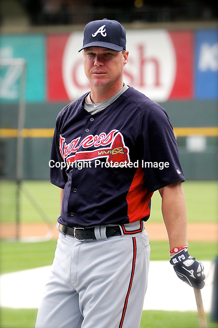 Atlanta Braves third baseman Chipper Jones (10) prepares for the game against the Colorado Rockies.  The Braves defeated the Rockies 13-9 on May 5, 2012, at Coors Field in Denver, Colorado. (AP Photo/Margaret Bowles)