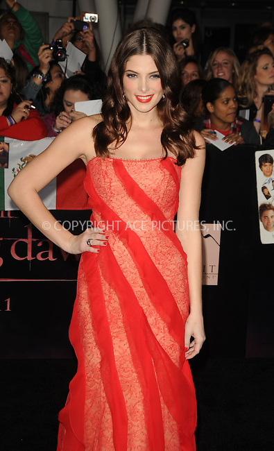 WWW.ACEPIXS.COM . . . . .  ....November 14 2011, LA....Ashley Greene arriving at the Premiere of 'The Twilight Saga: Breaking Dawn - Part 1' at Nokia Theatre L.A. Live on November 14, 2011 in Los Angeles, California. ....Please byline: PETER WEST - ACE PICTURES.... *** ***..Ace Pictures, Inc:  ..Philip Vaughan (212) 243-8787 or (646) 679 0430..e-mail: info@acepixs.com..web: http://www.acepixs.com