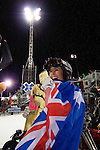 A delighted Torah Bright flashes her gold medal after winning the Superpipe on Australia Day at X-Games XI in Aspen, Colorado.