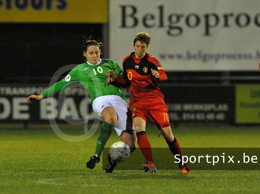 UEFA Women's Euro Qualifying group stage (Group 3) -  KFC Dessel - Armand Melis Stadion : BELGIUM -Northern Ireland ( Belgie - Noord Ierland ) : Sarah McFadden en Aline Zeler..foto DAVID CATRY / Vrouwenteam.be / Loft6.be
