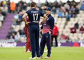 29th September 2017, Ageas Bowl, Southampton, England; One Day International Series, England versus West Indies; Liam Plunkett of England receives instruction from England Captain Eoin Morgan