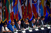 United States President Barack Obama, center, makes remarks during the International Civil Society event  in New York, New York, on Monday, September 23, 2013. From left to right: Khin Lay, Triangle Women Support Group, Burma; United Nations Special Rapporteur Maina Kiai, Rights to Freedom of Peaceful Assembly and of Association; President President Tsakhiagiin Elbegdorj of Mongolia; President Obama; U.N. Deputy Secretary-General Jan Eliasson; Alejandro González Arreola, Director General, GESOC and Open Government Partnership Steering Committee Member, Mexico; and Douglas Rutzen, president, International Center for Not-for-Profit Law and Lifeline Consortium Partner. <br /> Credit: Jin Lee / Pool via CNP