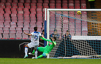 Daniele Rugani  shoots and scores  in action during the Italian Serie A soccer match between   SSC Napoli and Empolii    at San Paolo   stadium in Naples , December 07, 2014<br /> gol  Daniele Rugani